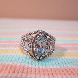 Sterling snake eye design blue stone ring/7.5